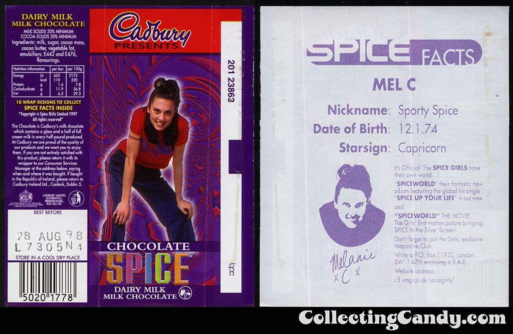 UK - Cadbury - Spice Girls - Mel C -  Sporty Spice - A - 21g chocolate bar candy wrapper - 1997