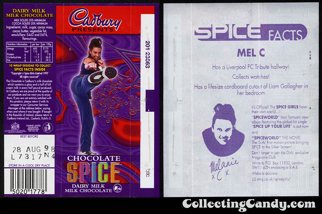 UK - Cadbury - Spice Girls - Mel C -  Sporty Spice - B - 21g chocolate bar candy wrapper - 1997
