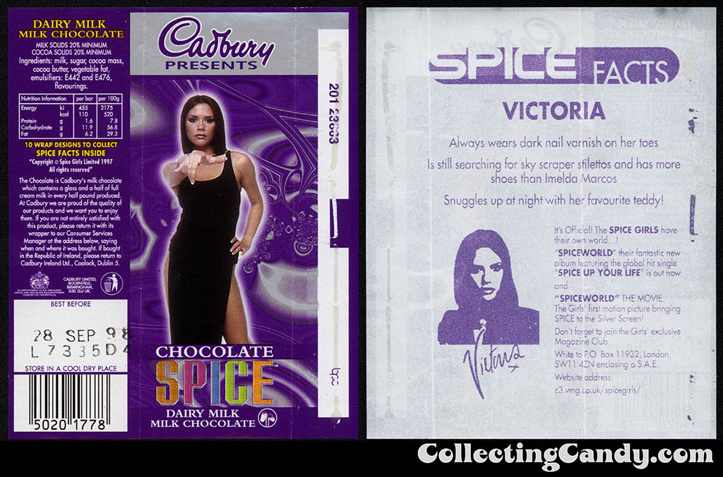UK - Cadbury - Spice Girls - Victoria - Posh Spice - B - 21g chocolate bar candy wrapper - 1997
