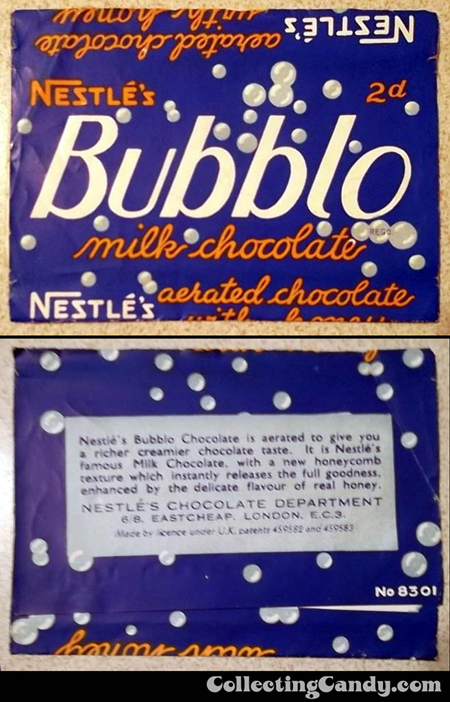UK - Nestle's Bubblo - aerated chocolate with honey - wrapper image - 1930's - Source unknown.