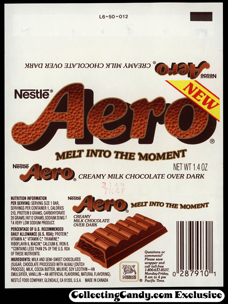 USA - Nestle - Aero - NEW - 1.4 oz chocolate bar wrapper - 1993
