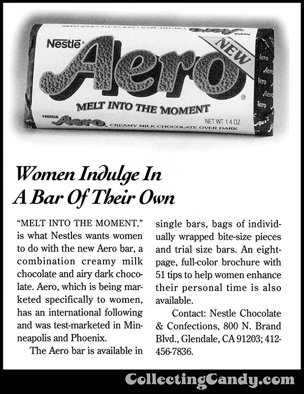 USA Nestle Aero bar - candy magazine trade clipping - June 1993