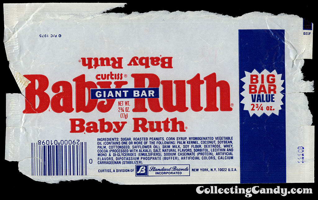 Curtis - Standard Brands - Baby Ruth - GIANT BAR - Big Bar Value 2 3_4 oz chocolate candy bar wrapper - 1980-81