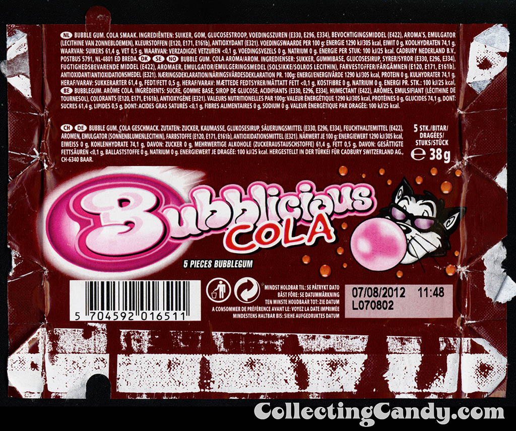 Europe - Cadbury Switzerland - Bubblicious - Cola - 5-piece bubble gum candy wrapper - 2011