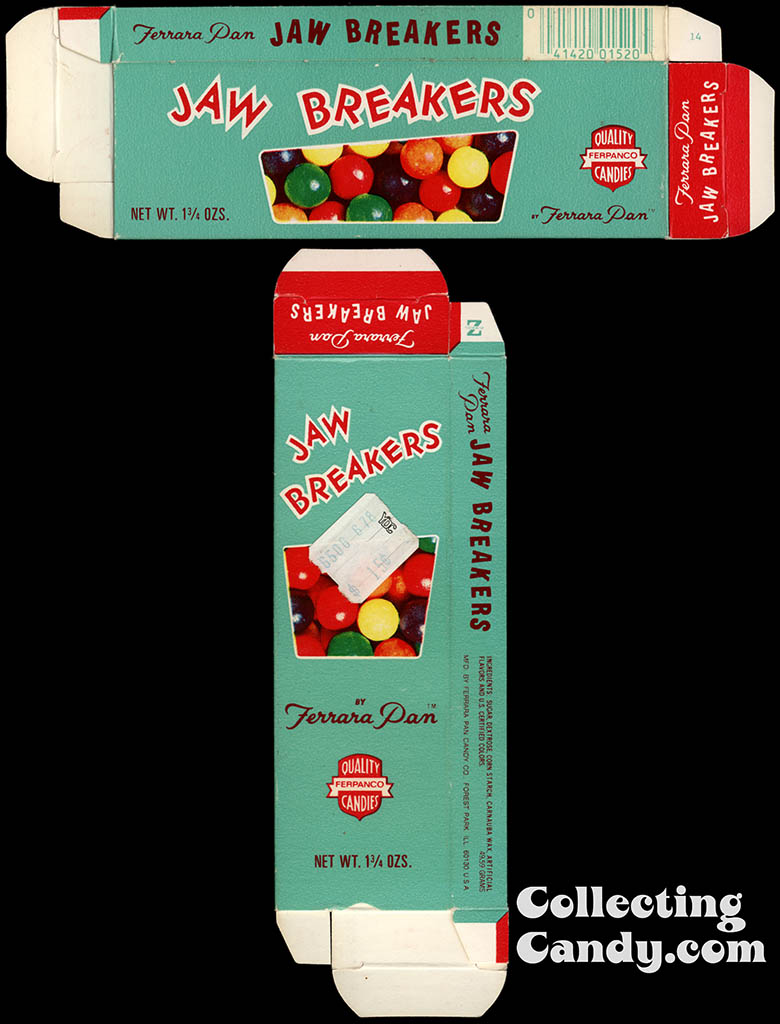 Ferrara Pan - Jaw Breakers - 1 3/4 oz candy box - circa 1980
