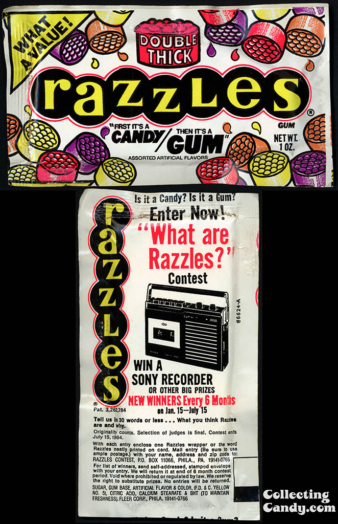 Fleer - Razzles - What are Razzles contest - candy package - 1983
