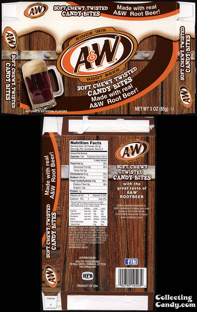 Healthy Food Brands - A&W Root Beer - soft chewy twisted candy bites - 3oz candy box - December 2014
