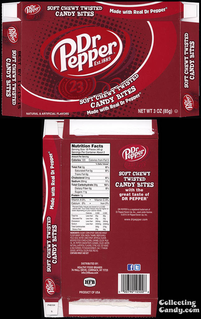 Healthy Food Brands - Dr Pepper - soft chewy twisted candy bites - 3oz candy box - December 2014