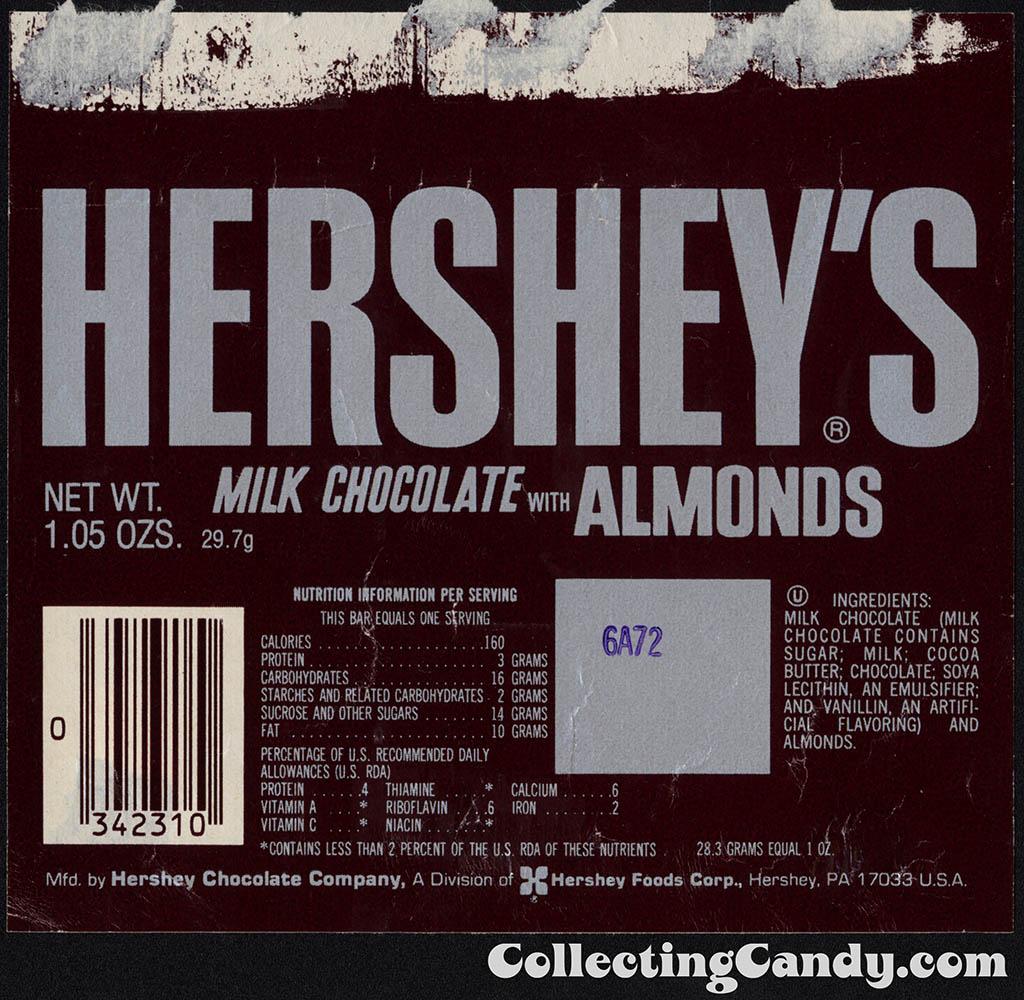 Hershey - Hershey's Milk Chocolate with Almonds - 1_05 oz chocolate candy bar wrapper - 1982