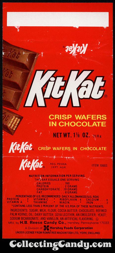 Hershey - Kit Kat - 1 1/8 oz chocolate candy bar wrapper - 1980
