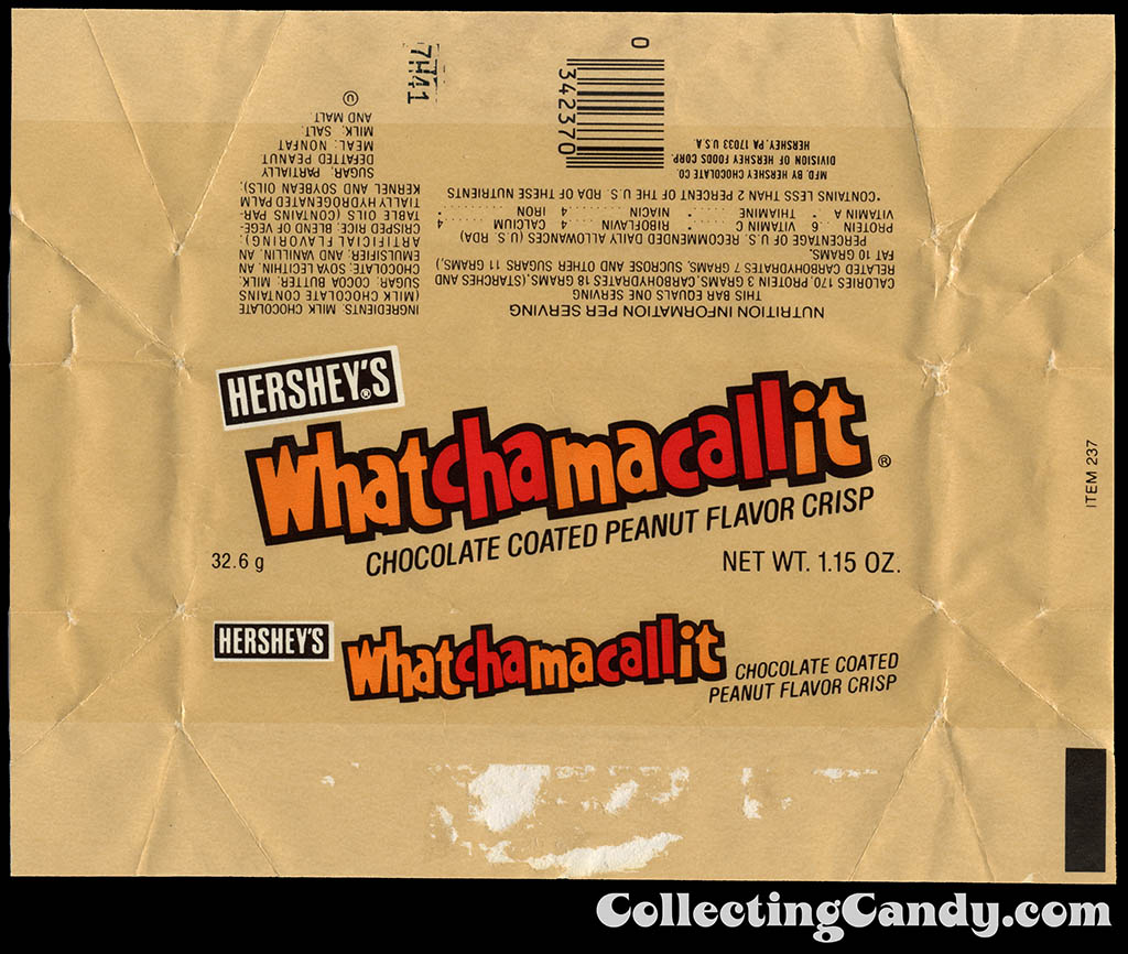 Hershey's Whatchamacallit candy bar wrapper - Early 1980's