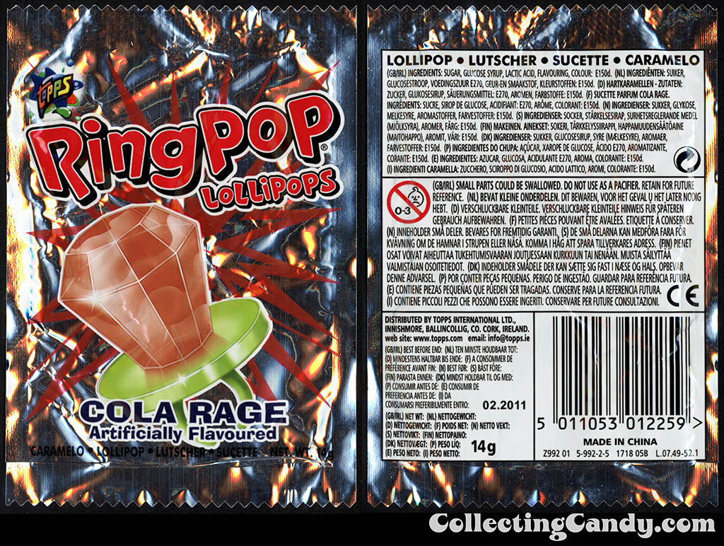 Ireland - Topps - Ring Pop Lollipops - Cola Rage - 10g candy package - 2012