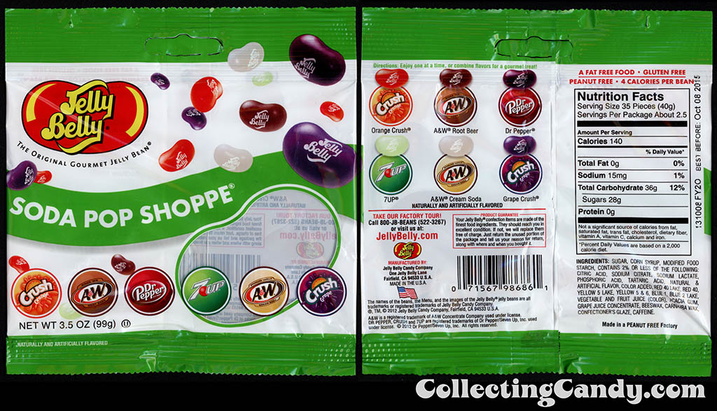 Jelly Belly - Soda Pop Shoppe flavor jelly beans - Orange & Grape Crush, A&W Root Beer & Cream Soda, 7-Up, Dr Pepper - 3.5 oz candy package - 2014