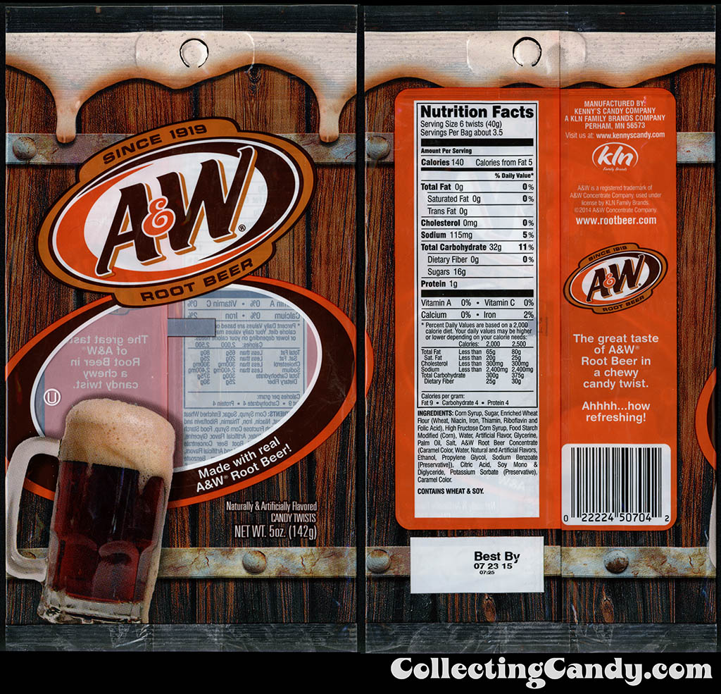 KLN - Kenny's Candy Company - A&W Root Beer - licorice twists - 5oz candy package - 2014