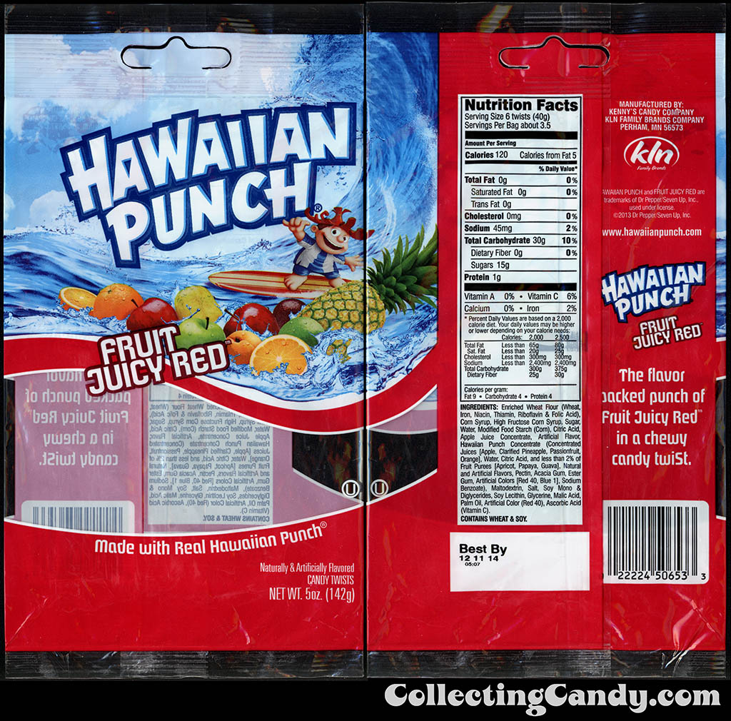 KLN - Kenny's Candy Company - Hawaiian Punch Fruit Juicy Red - licorice twists - 5oz candy package - 2014