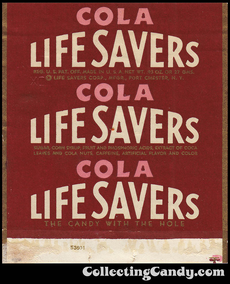 Life Savers Corp - Life Savers - Cola - roll candy wrapper -  1940s