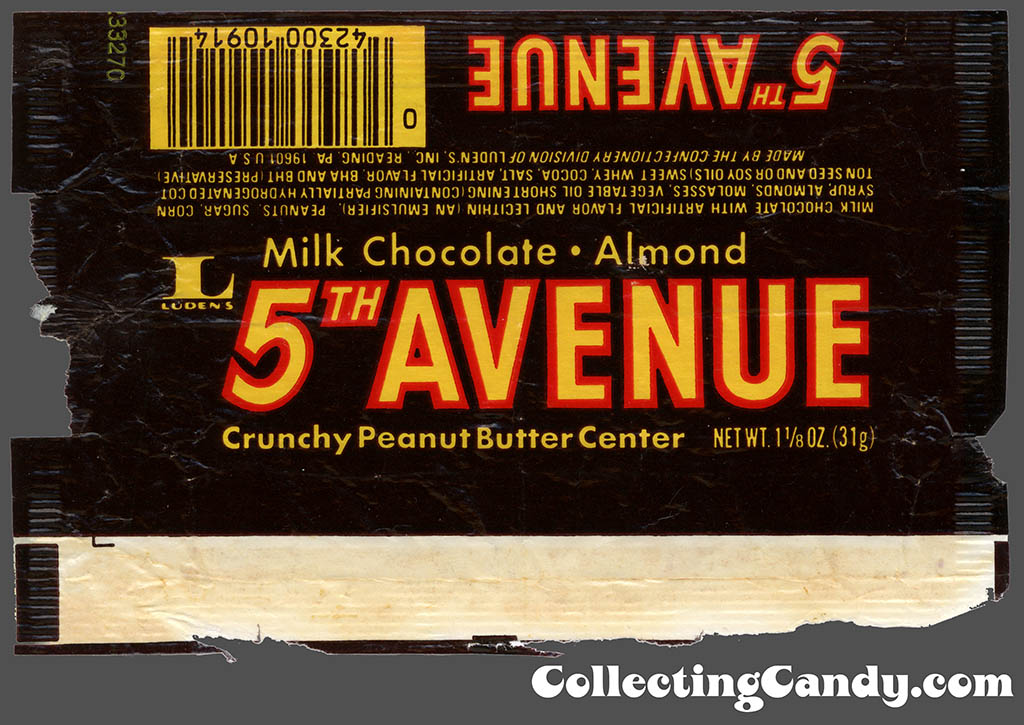 Luden's - 5th Avenue - 1 1/8oz chocolate candy bar wrapper - 1980