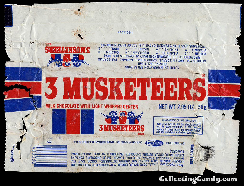 M&M-Mars - 3 Musketeers - chocolate candy bar wrapper - 1980