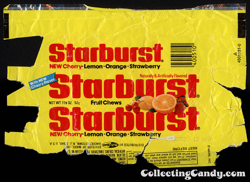 M&M-Mars - Starburst - with NEW Cherry Flavor - 1 7_8oz candy package wrapper - 1980
