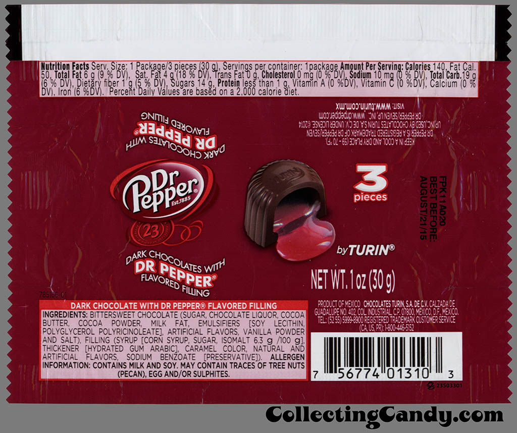 Turin Chocolates - Dr Pepper dark chocolate with flavored filling - 3-piece 1oz candy wrapper - January 2015