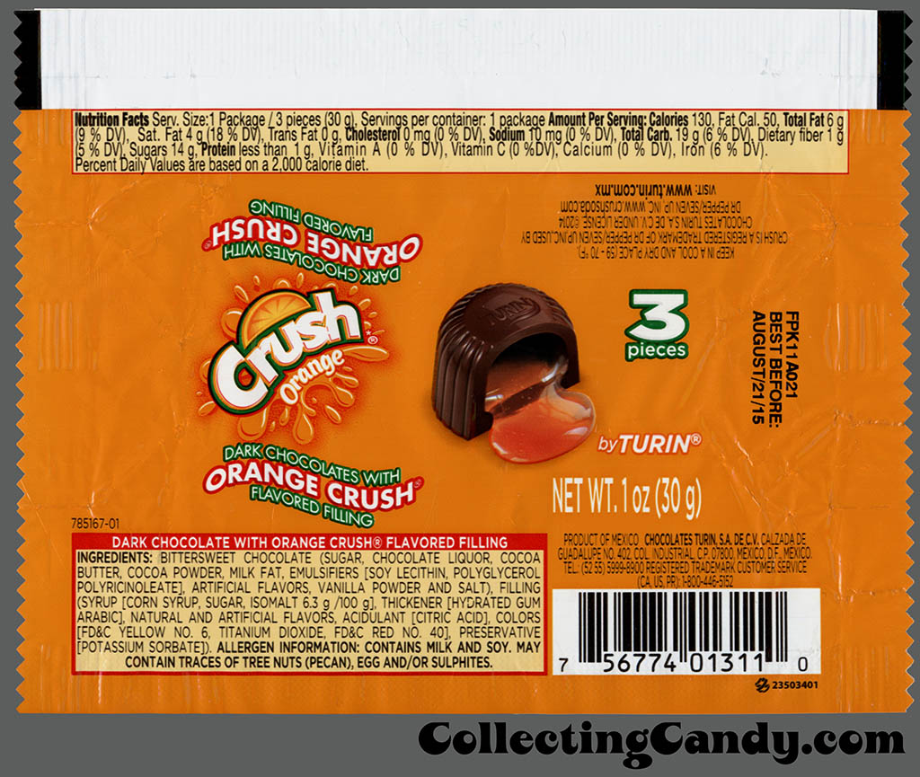 Turin Chocolates - Orange Crush dark chocolate with flavored filling - 3-piece 1oz candy wrapper - January 2015