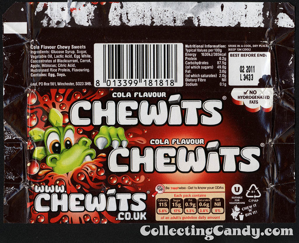 UK - Leaf - Chewits - Cola Flavour - candy package wrapper - 2010