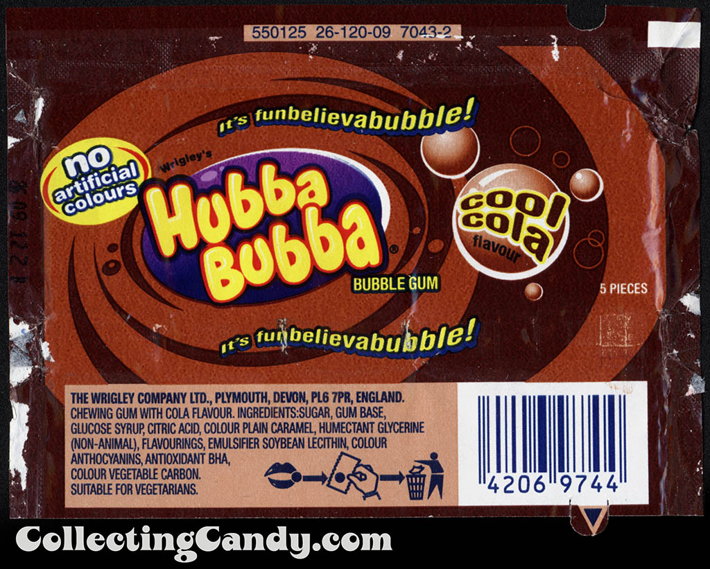 UK - Wrigley - Hubba Bubba - Cool Cola flavor - 5-piece bubble gum candy wrapper - 2012