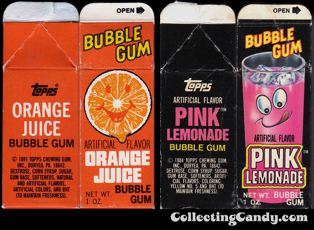USA Topps - Juice Carton Bubble Gum candy box packages - 1980's