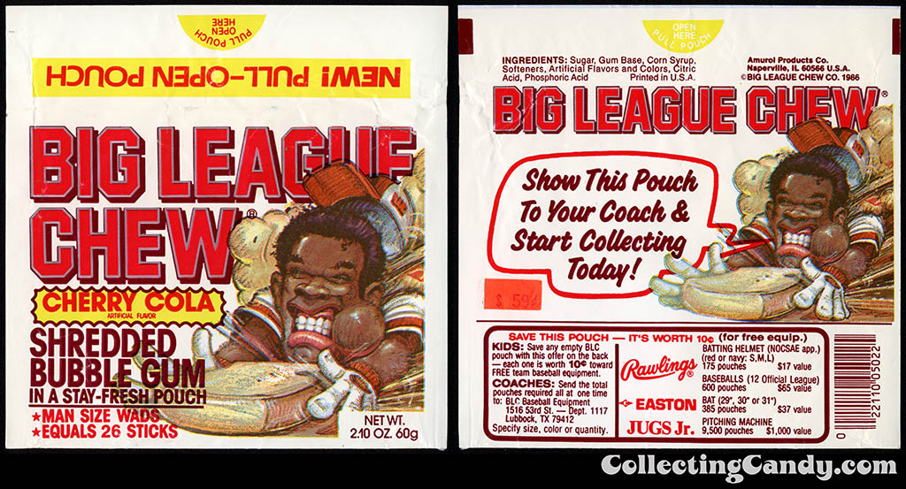 Wrigley-Amurol - Big League CHew - Cherry Cola - New Pull-Open Pouch - bubble gum package - 1986