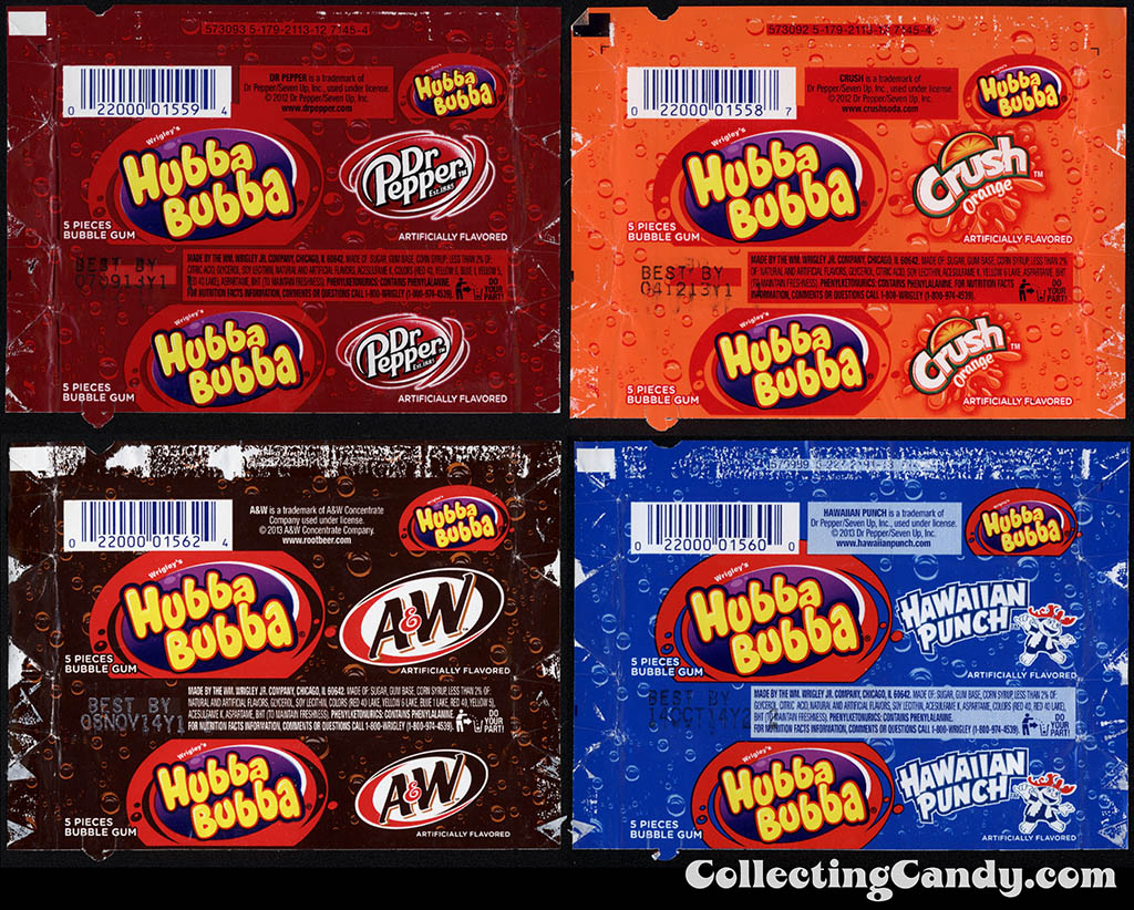 Wrigley - Hubba Bubba - Soda Flavors - Dr Pepper, Orange Crush, A&W Root Beer, Hawaiian Punch - bubble gum wrappers - 2012-2014