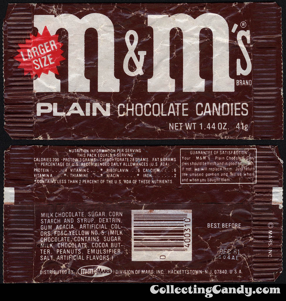 M&M's Plain - candy package - 1981
