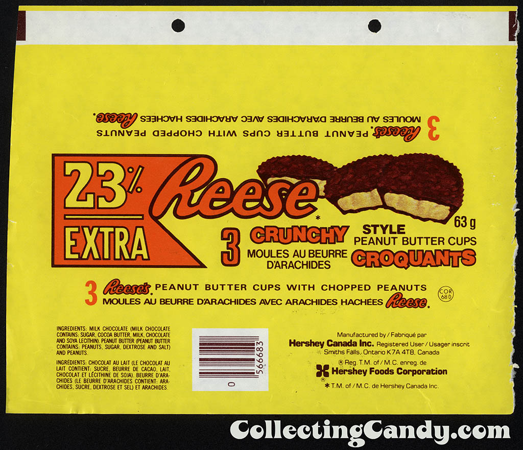 Canada - Hershey - Reese Crunchy - 23 extra - 63g chocolate candy wrapper - 1984