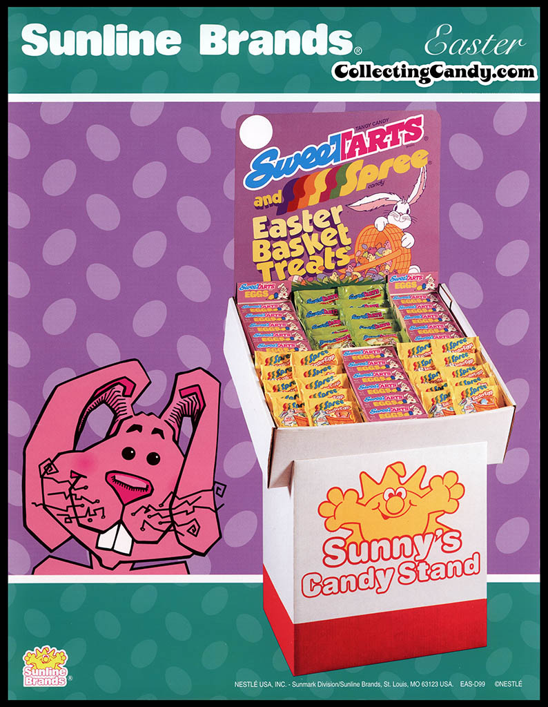 Nestle - Sunline Brands - New Easter Items - Sweetarts and Spree Easter Basket Treats POP display - promotional flyer - 1990's