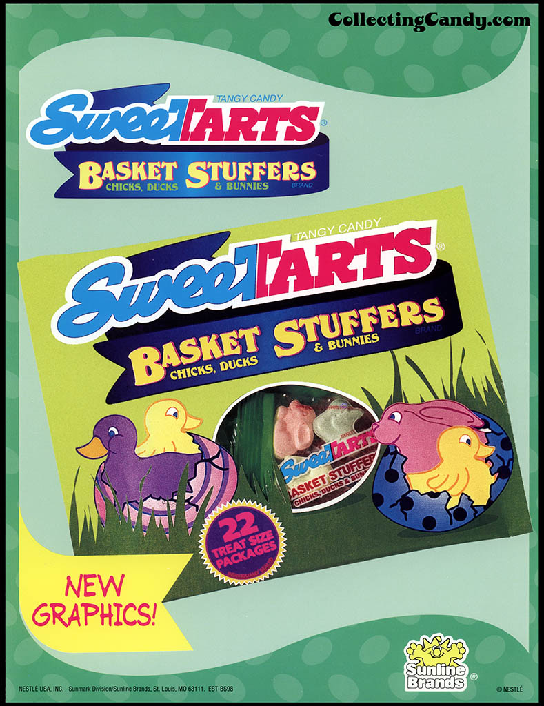 Nestle - Sunline Brands - Sweetarts Basket Stuffers - Easter candy - New Graphics - promotional flyer - 1990's