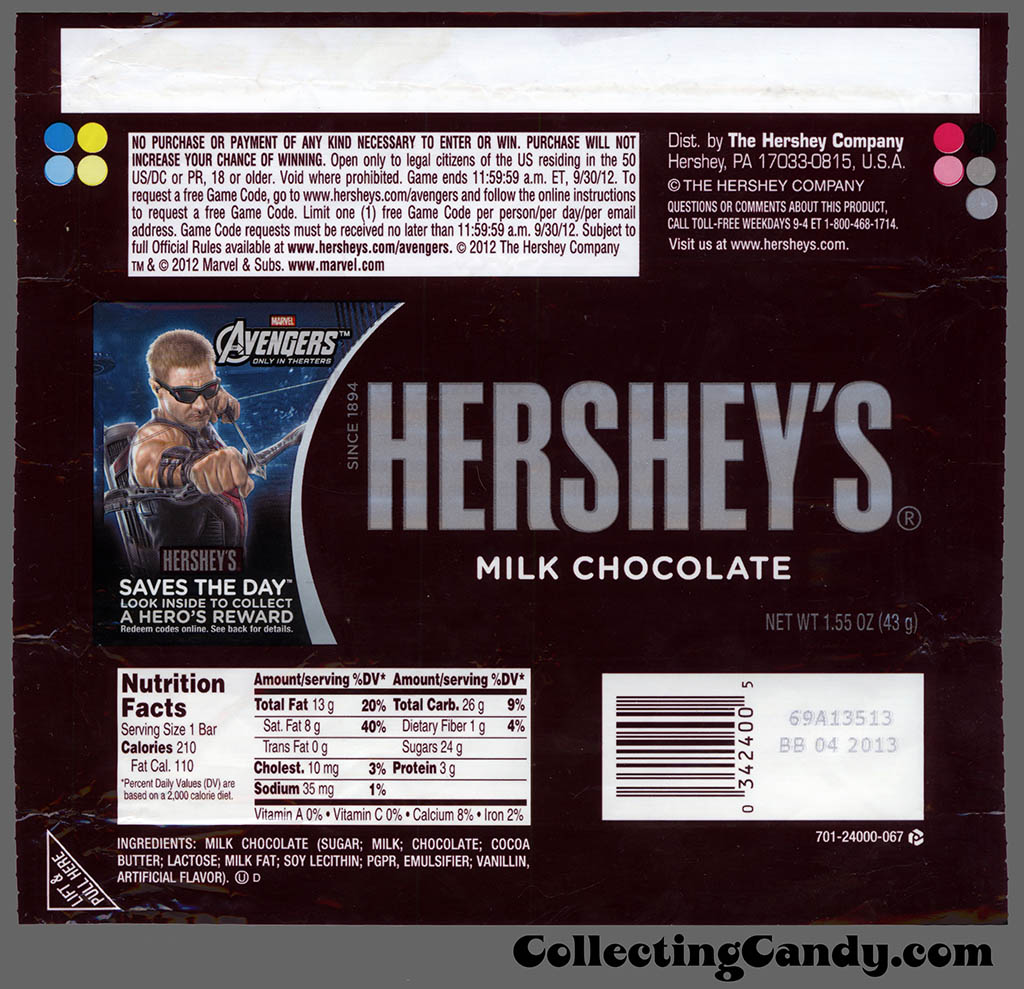 Hershey - Hershey's Milk Chocolate - Marvel Avengers Saves the Day - Hawkeye - 1.55 oz candy bar wrapper - May 2012