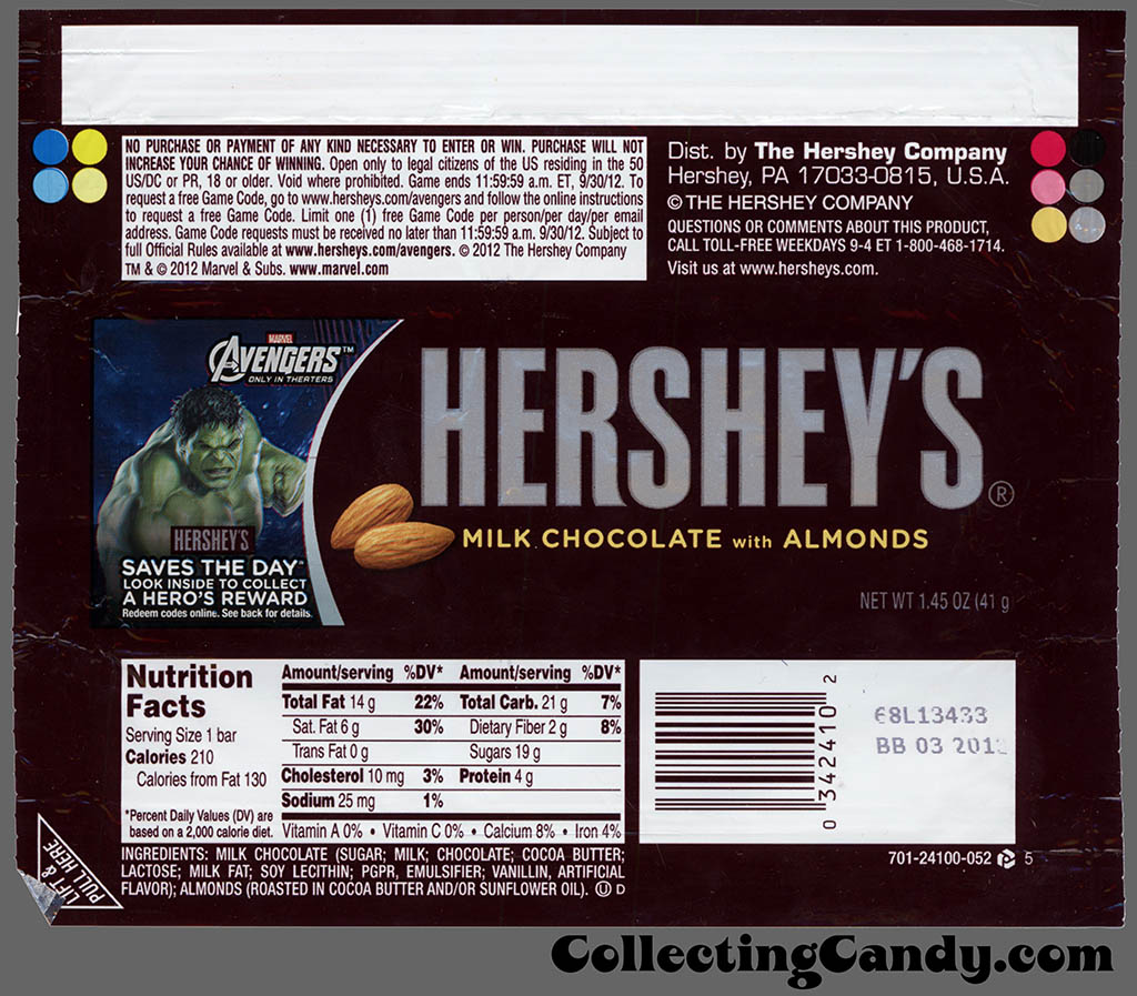 Hershey - Hershey's Milk Chocolate with Almonds - Marvel Avengers Saves the Day - Hulk - 1.45 oz candy bar wrapper - May 2012