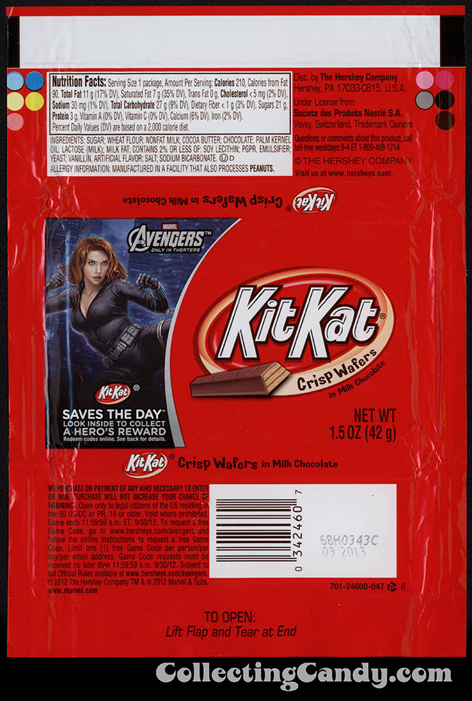 Hershey - Kit Kat - Avengers - Black Widow - Saves the Day promotion - chocolate candy wrapper - April 2012