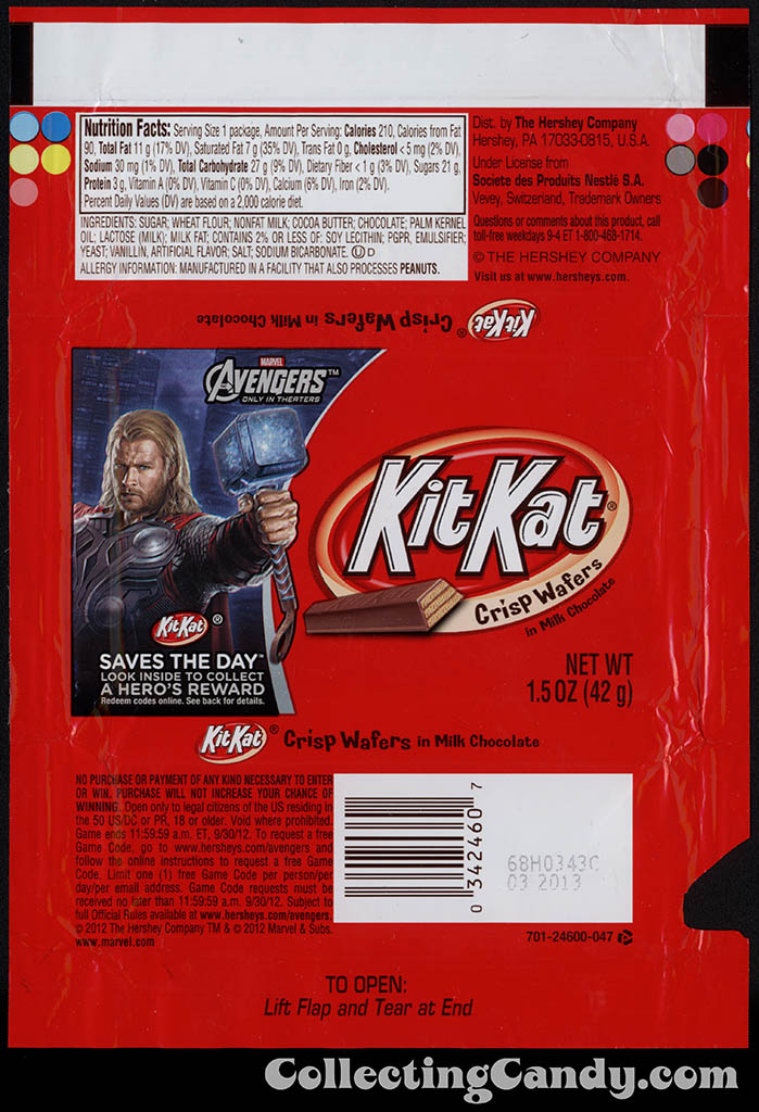 Hershey - Kit Kat - Avengers - Thor - Saves the Day promotion - chocolate candy wrapper - April 2012