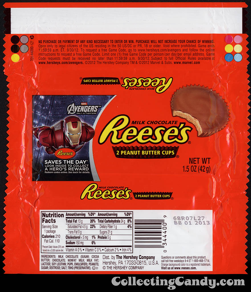 Hershey - Reese's Peanut Butter Cups - Avengers - Iron Man 1 - Saves the Day promotion - chocolate candy wrapper - April 2012