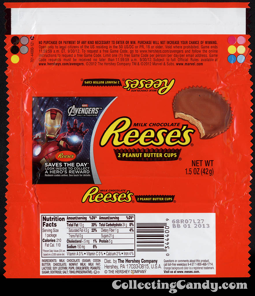 Hershey - Reese's Peanut Butter Cups - Avengers - Iron Man Repulsor Ray - Saves the Day promotion - chocolate candy wrapper - April 2012