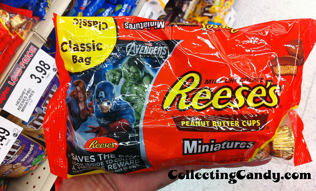 Hershey - Reese's Peanut Butter Cups Miniatures - Classic Bag - Avengers Saves the Day promotion - candy package photo April 2012