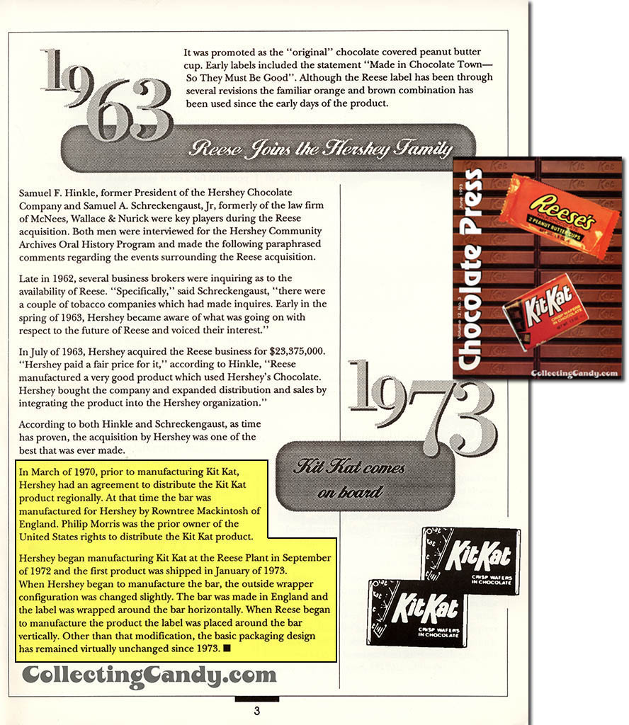 Hershey's Chocolate Press - employee newsletter - June 1993 - Page 3 - Kit Kat comes on board