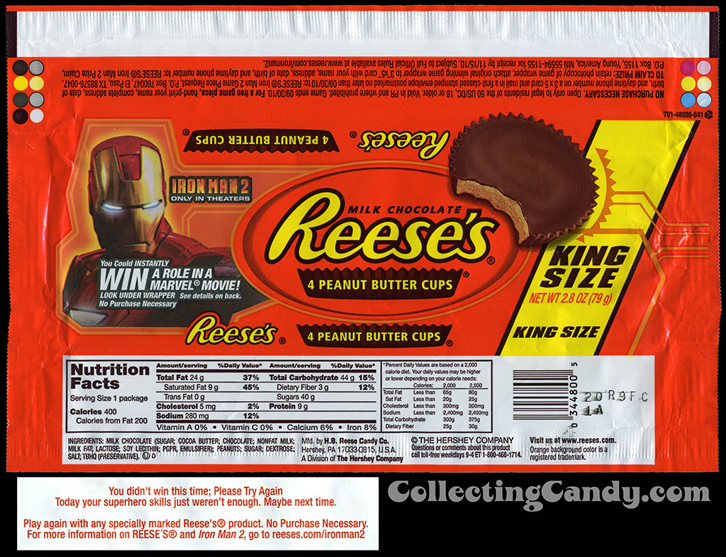 Reese's - 4 Peanut Butter Cups King Size - Iron Man 2 win a movie role - candy wrapper - 2010