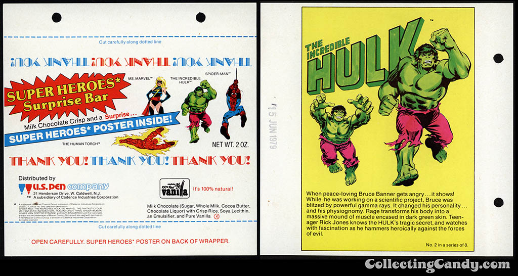 US Pen Company - Marvel Super Heroes Surprise - The Incredible Hulk - 2 oz fundraising chocolate candy bar wrapper - 1979