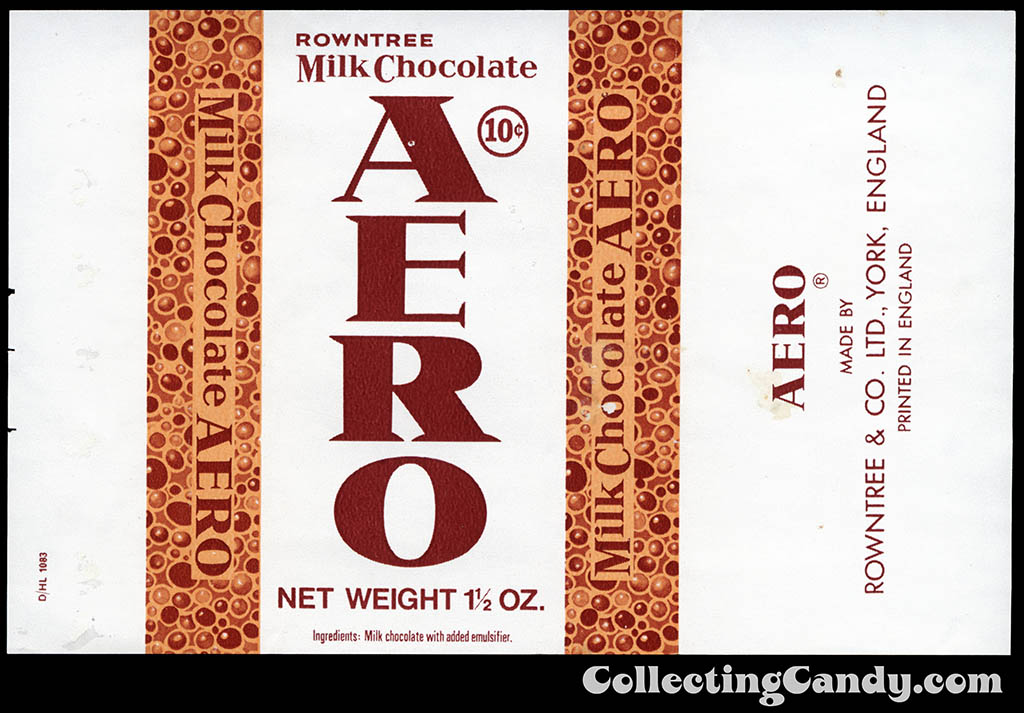 USA - Rowntree - Aero - UK produced for USA distribution - 10-cent 1 1_2 oz chocolate candy bar wrapper - late 1960's to early 1970's