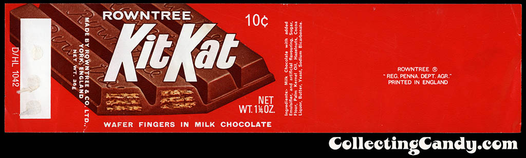 USA - Rowntree - Kit Kat - UK-produced for USA distribution - 10-cent 1 1_4 oz chocolate candy bar wrapper - late 1960's to early 1970's