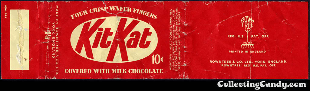 USA - Rowntree - KitKat - Kit Kat - 10-cent candy bar wrapper - 1950's 1960's