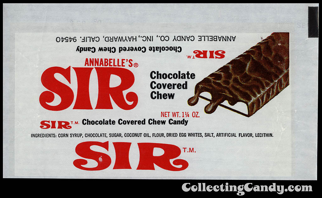 Annabelle Candy Co - Annabelle's Sir - 1 1/4 oz chocolate candy bar wrapper - 1979