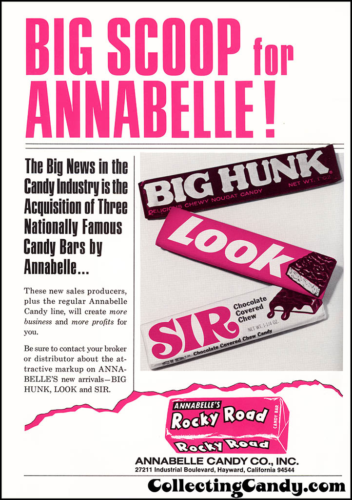 Annabelle Candy Co - Big Scoop - Big Hunk, Look, Sir - candy trade magazine ad - July 1972