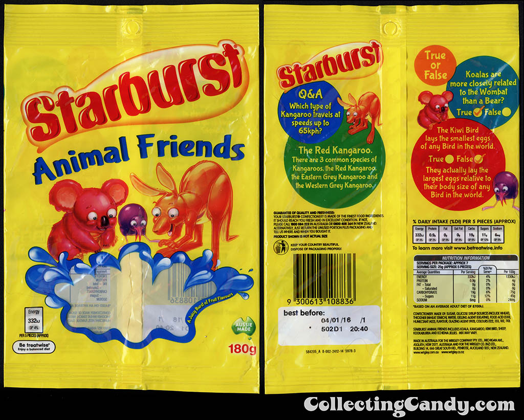Australia-New Zealand - Wrigley - Starburst Animal Friends - 180g gummy candy package - 2015